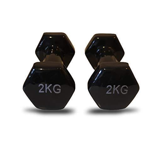 Kottao - Manubri in vinile (venduti in coppia, 2 kg, nero), esagonali in gomma per Pilates, antiscivolo, per palestra in casa, per sport in casa
