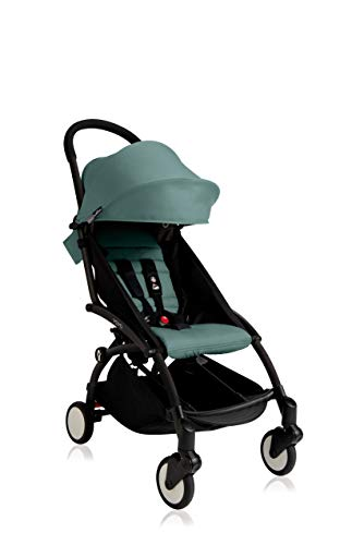 Babyzen Yoyo+ Stroller - Black Frame with Aqua Seat and Canopy