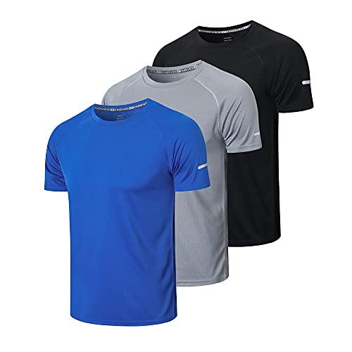 HUAKANG 3 Piezas Camiseta Hombre de Manga Corta Camiseta Hombre de Secado Rápido Ropa Deportiva Hombre para Correr(Black Grey Blue -2XL)
