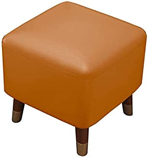 Foot Stool Pu Leather,Wooden Footstool Ottoman Square Padded Pouffe,Small Foot Rest Stool For Living Room Bedroom Garden