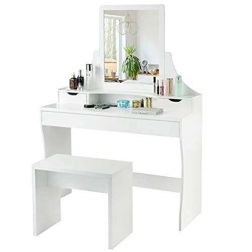 COSTWAY Schminktisch weiß, Make-up Tisch mit Spiegel und Hocker, Frisierkommode Holz, Frisiertisch mit 3 Schubladen