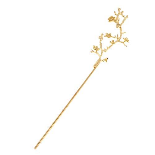 IPOTCH Frauen Weinlese Haar Stock Essstäbchen Mit Dem Blumen Verschönerungs Stilvollen Und Einfachen Haar, Das Zusatz Chinesische Haarnadel Herstellt - Golden