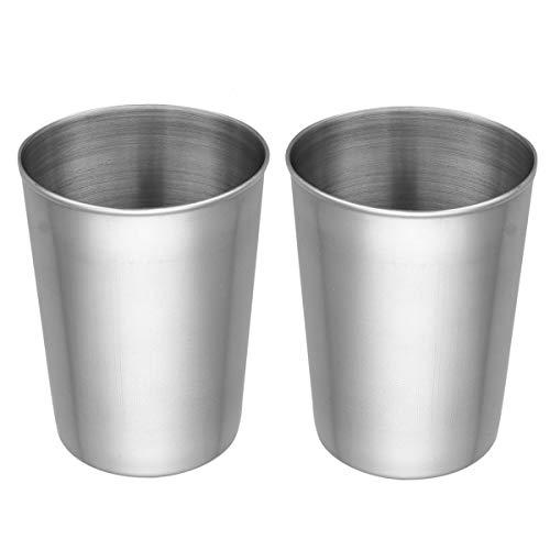 iiniim 2/4er Set Edelstahl Becher Tasse Schnaps Becher Kleinkinder Trink Gläser Tassen 50ml/180ml/320ml/500ml Silber D 2x500ml