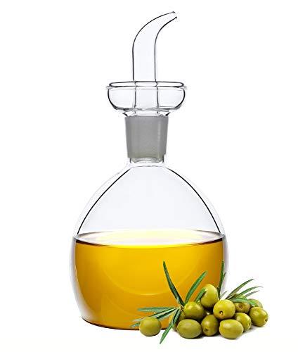 HAIZEEN [150ml Distributore in Vetro per Olio d'Oliva e Aceto, Ampolla in Vetro, con Beccuccio Antigoccia per Cucina e Barbecue