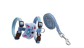 Uymaty Harnais pour Chat réglable avec Jeu de Laisse,Harnais pour Chaton en Coton Confortable et Jeu de Laisse pour Chats Chaton Chiot Petits Chiens Marchant(Bleu,M-1.5X120CM)