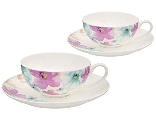 Buchensee Teetassen Set aus Fine Bone China Porzellan. 2 Teetassen je 150ml und 2 Unterteller mit stilvollem Blumendekor.