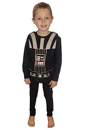 Star Wars Kinder Darth Vader Schlafanzug Pyjama Set mit Effekten - Schwarz, Größe Alter 4-5 Jahre