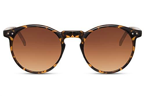 Cheapass Gafas de Sol Redondas Brillantes Montura Leopardo con Cristales Marrones Protección UV400 Vintage Hombre Mujer