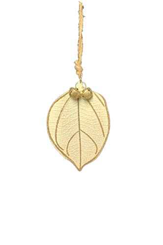 Pandecor Decoration Christmas Tree Leaf Shape Cream Tin with Gold Grain and Bells h.9 cm