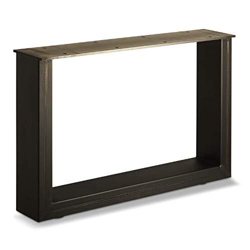 1 stuk SOTECH tafelonderstel, tafelframe, ruw staal, vintage look, blank gelakt 400 x 600 mm, belastbaar tot 250 kg