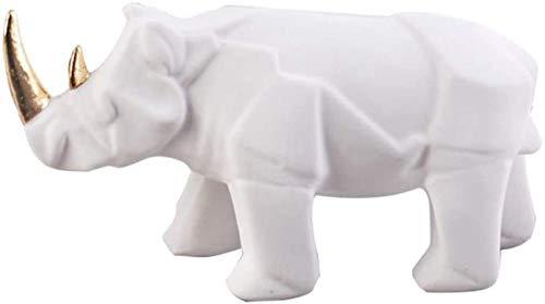 kglkb Escultura Decorativa Salon,Decoración del Hogar,Estatuilla De Adorno,Estatuas Modernas De Rinoceronte Blanco,Decoración del Hogar,Accesorios,Regalos,Escultura De Resina Geométrica