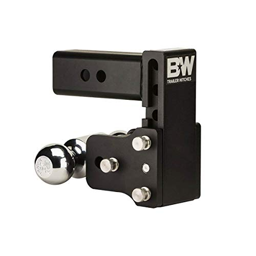 "B&W 10,000 Bumper Pull Adjustable Height & Ball - 2.5"" Receiver Hitch Ball Mount Assembly with 2"" and 2-5/16"" Chrome Hitch Balls"