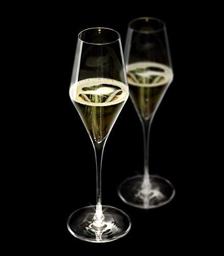 Juego de 2 copas de champán con tallo iluminado, cristal fino, galardonado con el premio de diseño alemán, aptas para uso diario y lavavajillas