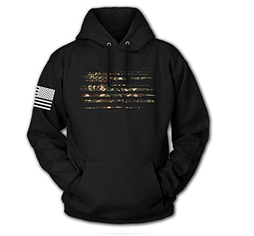 Tactical Pro Supply USA-Sweatshirt mit Kapuze, amerikanische Flagge, patriotische Jacke, für Damen und Herren - Schwarz - Mittel