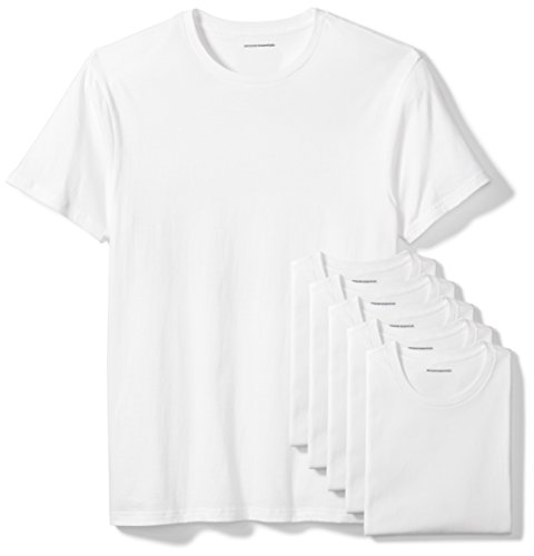 Amazon Essentials 6-Pack Crewneck Undershirts camisa, Blanco (White), Small