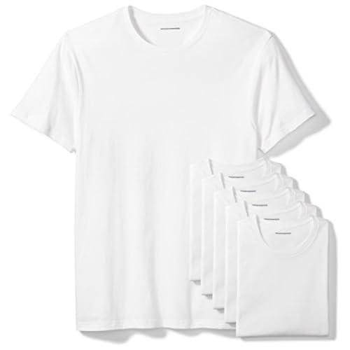 Amazon Essentials 6-Pack Crewneck Undershirts Camicia, Bianco (White), Medium