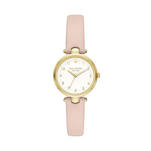 kate spade new york Women's Holland Stainless Steel Quartz Watch with Leather Strap, Pink, 10 (Model: KSW1700)