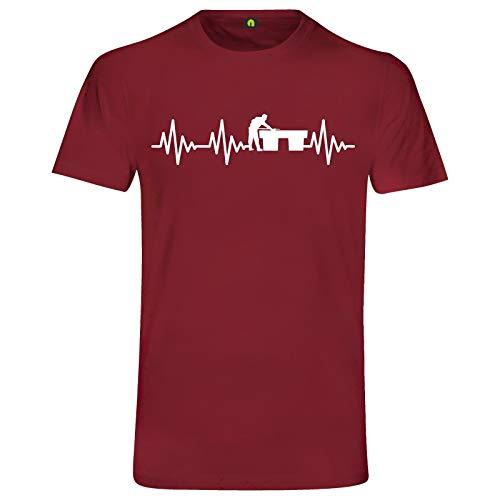 Herzschlag Billard T-Shirt | Billiards | Poolbillard | Snooker | Queue | Tisch Bordeaux Rot 2XL