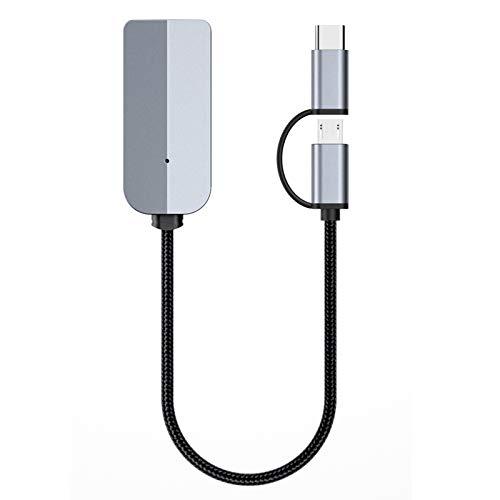 DERCLIVE Adaptador de audio digital de vídeo USB C/Micro USB a HDMI hembra AV adaptador convertidor, gris
