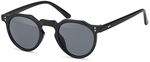FEINZWIRN Sonnenbrille für schmale Gesichter und abgerundeten Gläsern unisex - Holzoptik (schwarz)