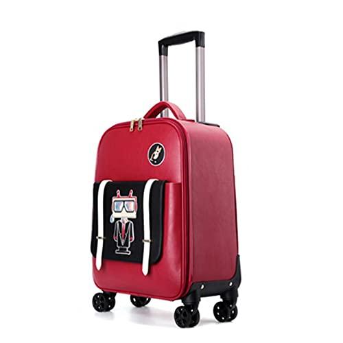 Maleta de cuero de dibujos animados de las mujeres Spinner pequeña cabina mano equipaje para niñas bolsa de viaje 18 pulgadas, Black, 48,26 cm,