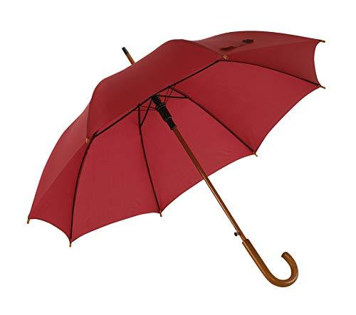 Automatik Regenschirm Holzschirm Stockschirm Portierschirm mit gebogenem Rundhaken Holzgriff in 103 cm Durchmesser von notrash2003 (Bordeaux)