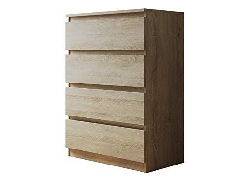 Kommode mit 4 Schubladen Malwa M4, Diele, Flur, Anrichte, Highboard, Sideboard, Mehrzweckschrank, Wohnzimmer, Esszimmer (Sonoma Eiche)