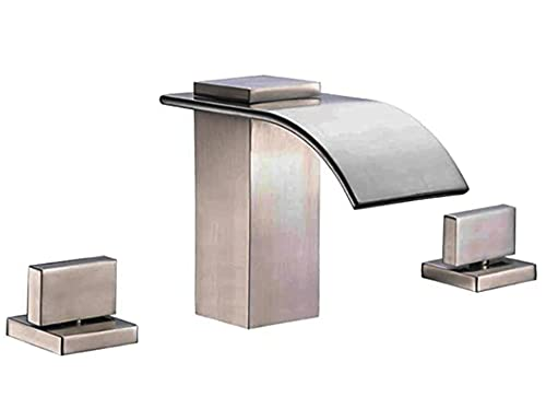 sumerain Roman Tub Faucet Brushed Nickel 3 Hole Widespread Bathtub Faucet with High Flow Waterfall Spout