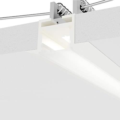 Eurekaled - Profilo alluminio Bianco Incasso nel cartongesso con copertura opaca-2Metri -