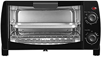 COMFEE' Toaster Oven Countertop, 4-Slice, Compact Size, Easy to Control with Timer-Bake-Broil-Toast Setting, 1000W, Black...