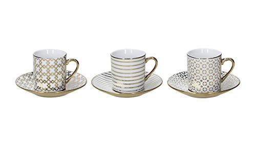 Tognana Empire Kaffeetassen, sortiert, Porzellan, goldfarben, 6 Stück