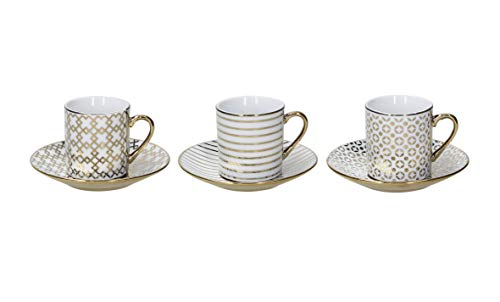 Tognana Set 6 tazzine caffè Empire decori Assortiti, Porcellana, Oro