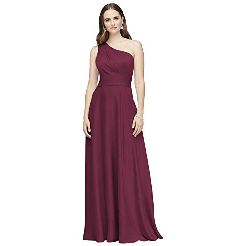 David's Bridal Satin Crepe One-Shoulder Bridesmaid Dress Style OC290063, Wine, 8
