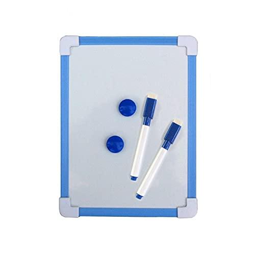 20.5 * 15.6cm Pizarra Blanca magnética para niños Tablero de Limpieza en seco 5 Colores Marco Mini Dibujo Tablero Blanco Tableros de borrado Colgantes pequeños con bolígrafo - Azul