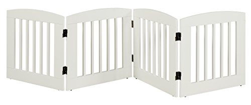 BarkWood Freestanding Wood Pet Gate - 4 Panel Expansion - Medium - 24'H - White Finish