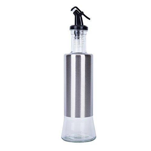 Alicemall Aceitera Acero inoxidable y Vaso Aceitera Botella de Tanque para Vinagrera 320ml Dispensador de Salsa de Soja Negro