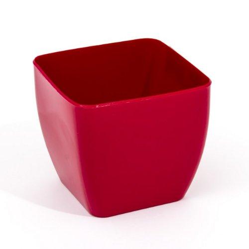Vaso per piante Alcea quadrato, 1,9 Lt colore: rosso lucido ø 140 mm