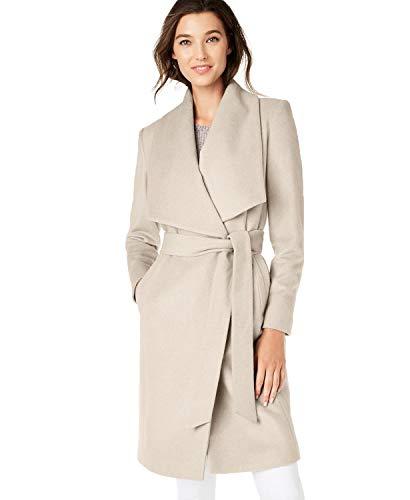 Cole Haan Women's Wool Slick Belted Coat, Bone, 10