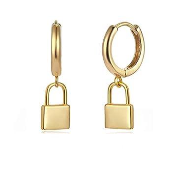 MYEARS Women Lock Earrings Gold Huggie Hoop Padlock Dangle Drop 14K Gold Filled Tiny Boho Beach Simple Delicate Handmade Hypoallergenic Jewelry Gift