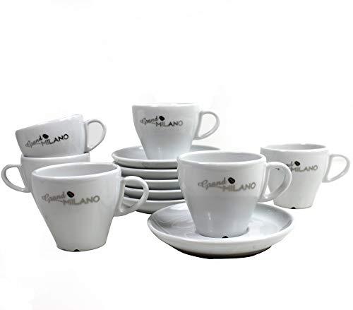 Grand Milano 6X Kaffee-Tassen Set 19 cl inkl. passende Untertasse von Miko Porzellan mit Relief Kaffeebohnen Prägung ~mn 666 0955+