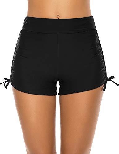 Lecieldusoir Women's Swim Shorts High Waist Bathing Suit Bottoms Swimsuit Boy Shorts Bikini Tankini Board Shorts Black