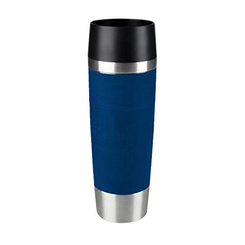 Emsa 515618 Travel Mug Standard-Design Grande, Thermobecher/Isolierbecher, 500ml, hält 6h heiß/ 12h kalt, 100{40988ca5a42acf39f3c5fbfcc963db65e990473d5796baee02a98af5f473ac64} dicht, auslaufsicher, Easy Quick-Press-Verschluss, 360°-Trinköffnung, Farbe blau
