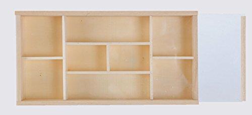 Scatola bacheca portaoggetti,8 posti,con coperchio, decoupage, cm 32x1x5h, in legno