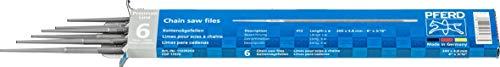 PFERD Kettensägefeilen, 6 Stück, rund, 200mm x 4,8mm, Spiralhieb, Premium Line, 11039203 – für das manuelle Schärfen von Sägeketten