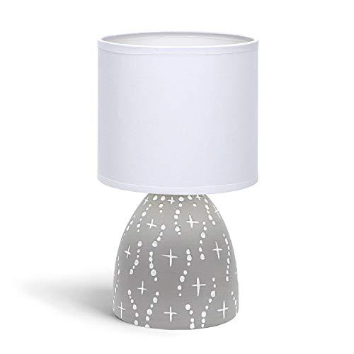 Aigostar - Lámpara de mesa, cuerpo de diseño color gris con motivos blancos, pantalla de tela color blanco, Lámpara de cerámica E14. Perfecta para el salón, dormitorio o recibidor, H25cm