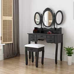 Panana - Tocador Tres Espejos Ovalado Plegable con Taburete Acolchado 7 Cajones Almacenaje Tallada (Negro)