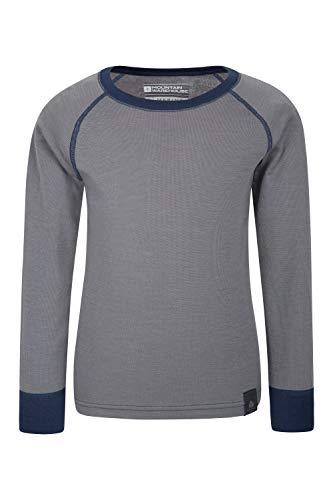 Mountain Warehouse Camiseta térmica Lana Merino para niños con Cuello Redondo - de Mangas largas, cálida, Transpirable, Camiseta para niños de Secado rápido Gris 7-8 Años