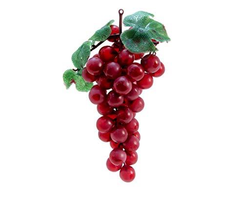 Deko Obst, mit 48 roten Trauben und Blättern, Länge 20cm - Künstliche rote Weintraube ideal für Tischdekorationen Weintrauben Rebe mit künstlichen Trauben