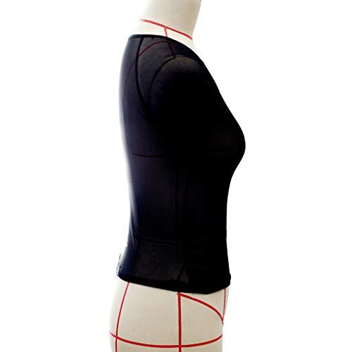 Women's Sheer Mesh See-Through Short Sleeve Crop Tops Casual T Shirt,Home Wear Sexy Underwear Comfortable Underwear Black
