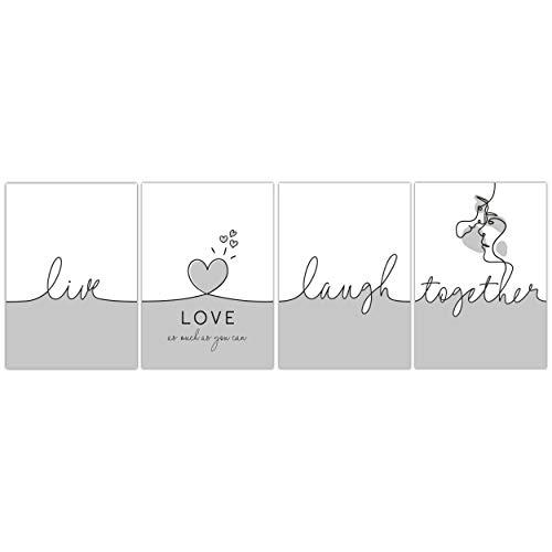 TOBJA® Hochwertiges Poster Set Liebe - Exklusive Premium Bilder für Wohnzimmer Schlafzimmer | 4X DIN A4 Kunstdruck mit Sprüchen ohne Bilderrahmen | Moderner Schriftzug in Schwarz Weiß (Love 1)